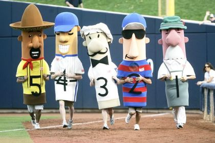 The Sausage Race is a Milwaukee Brewers tradition. (AP photo)