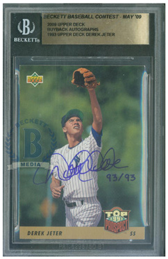 And The Derek Jeter 1993 Upper Deck Autographed Buyback