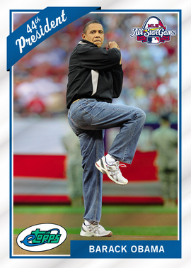 Barack Obamas All Star First Pitch Lands On Baseball Card