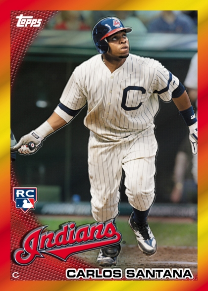 Cleveland Indians Catcher Carlos Santana Is The First 2010 Topps Red